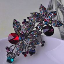 Marca de lujo Collar Mujeres Vintage Broches Broches de La Flor Nupcial Broche Bijuteriras Fino Broche de Cristal Marca de Joyería Ouro
