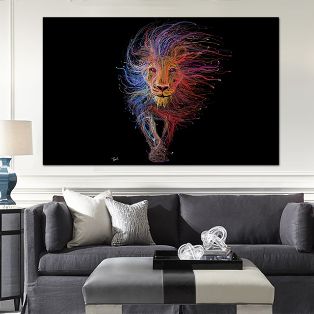 Bon Home Decor Lion King Animal Graphic Design Advertising Wall Art Pictures  Modern Paintings Print On Canvas
