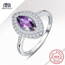 Charming Marquise Cut Purple Solid 925 Silver Ring New Hallow Cocktail Party Ring For Women Size 6 7 8 9 Free Jewlery Box