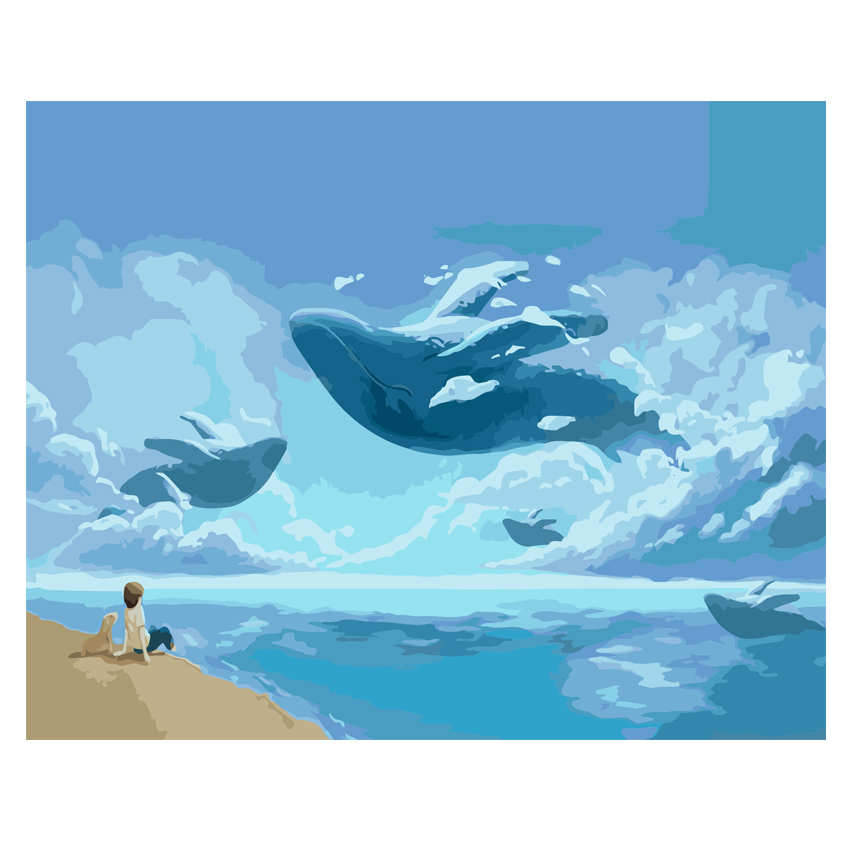 Diy Canvas Painting For Home Decoration,Painting By Number 40x50cm,Flying Whale Paint Kits