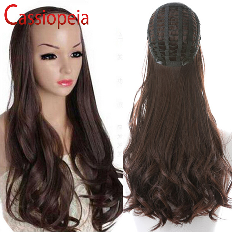 Wavy Human Hair Half Wigs Virgin Brazilian 3 4 Remy Human Hair Wigs Body  Wave in Stock Color 1  2  4  Clip in None Lace Half Wig-in Human Hair Lace  Wigs ... 05fd340bd38d