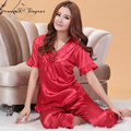 2016 New Big size women Pajama Sets faux silk homewear set short sleeve v neck summer sleepwear set free shipping