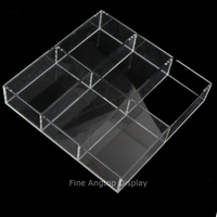 Clear Small Acrylic Tray for Decorative Display Countertop Jewelry Beads Organizer Tray With 6 Dividers
