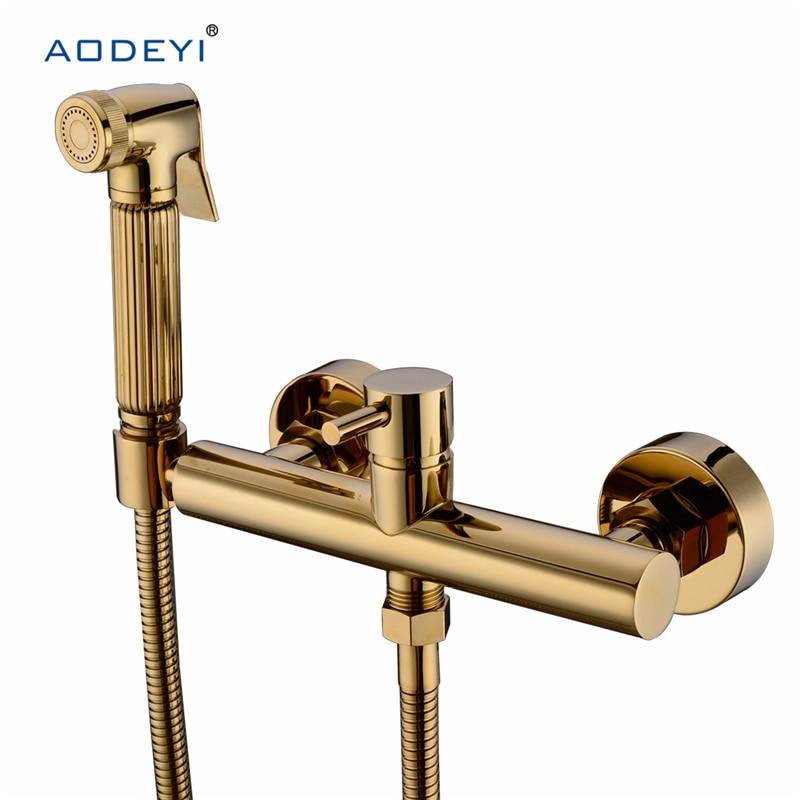 Solid Brass Toilet Handheld Bidet Spray Shower Sprayer Set With Hot and Cold Mixer Valve Chrome