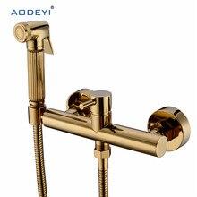 Mosiężny ręczny natrysk bidetowy spryskiwacz prysznicowy z mieszacz ciepła/zimna chromowana i złota