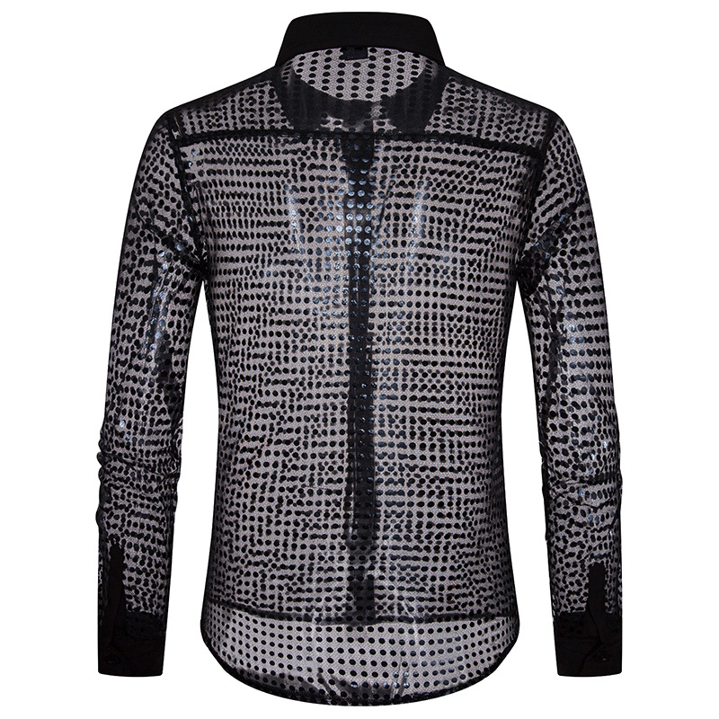 European Fashion Men's Plaid Shirts Autumn And Winter Glitter Big Body Point Scale Night Shop Design Men's Long Sleeve Shirt 1