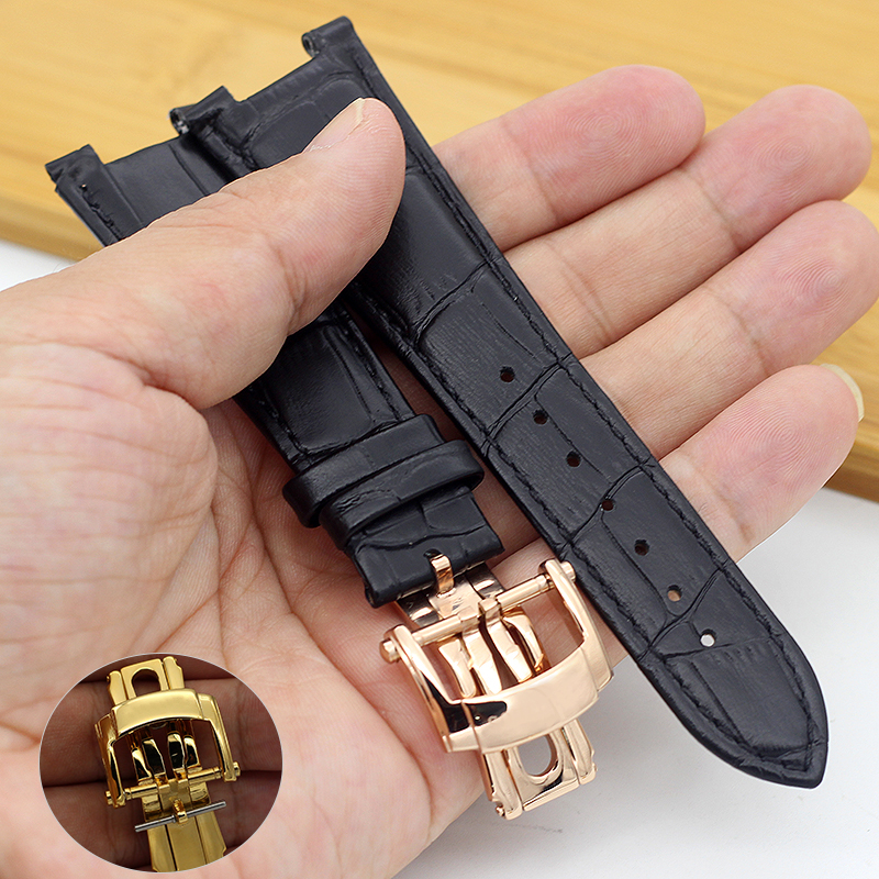 25*12MM High Quality Genuine Cow Leather Watch Bands Recess Watchbands For PP Nautilus 5711 5712 Men Watch Bracelet Black Brown