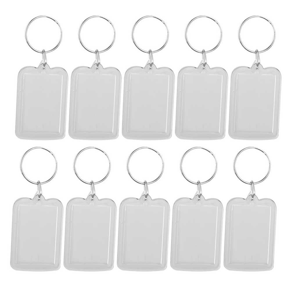 10pcs Rectangle Blank Insert Photo Picture Frame Split Ring Keychain (5*3.3cm)