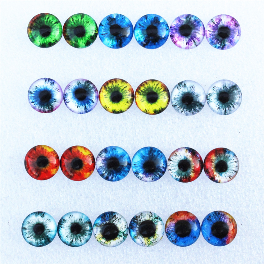 12mm Random Mixed Dragon Eyes Round Glass Cabochon Flatback Photo Dome Jewelry DIY Accessories Tray By Pair 50pcs/lot K06126