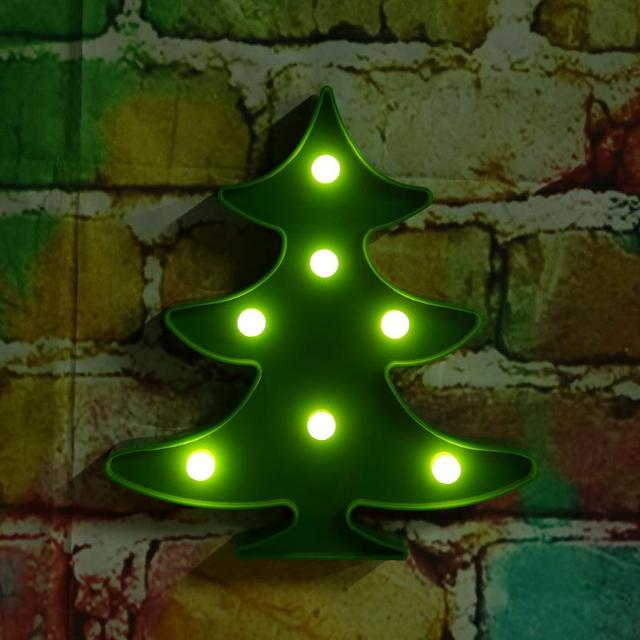 Battery Operated Led Wall Decorative Lights Mini Christmas Tree Shape Luminous Night Lamps For Xmas Party Wedding Decoration