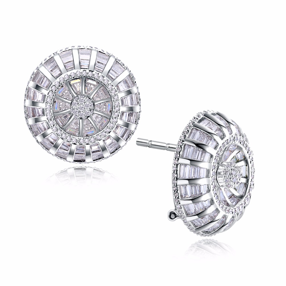 Boucles d'oreilles rondes de luxe avec zircon cubique AAA, belles boucles d'oreilles sans plomb, bijoux vintage