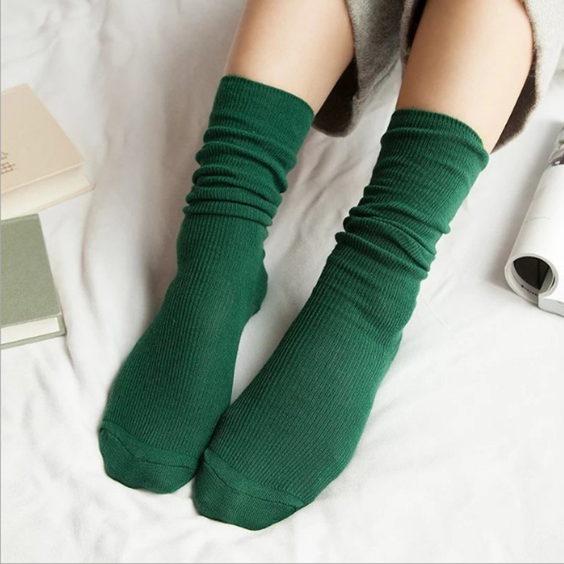 1Pair Warm Women Socks solid color Autumn Winter Christmas Winter Socks For Woman Female ...