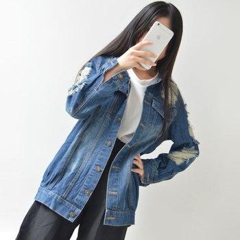 New Arrival Vintage Harajuku Denim Jacket Autumn Women Denim Jacket Lady's casual hole coat fashion outerwear Free shipping