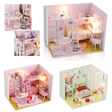 DIY DollHouse Miniature Wooden Model With 3D Furnitures Creative Handicrafts Doll house Wooden Toy Birthday Gift For Children #E