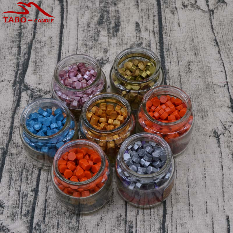 particle deposition Manuscript Seal Wax Particle Tablet 3 Random Color In Cute Glass Bottle for Handcrafted Wedding Invitation Decoration