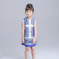 Girl Dress 2015 New Brand Cinderella Dress Dobby Floral Print Kids Dresses For Girls Europe Style