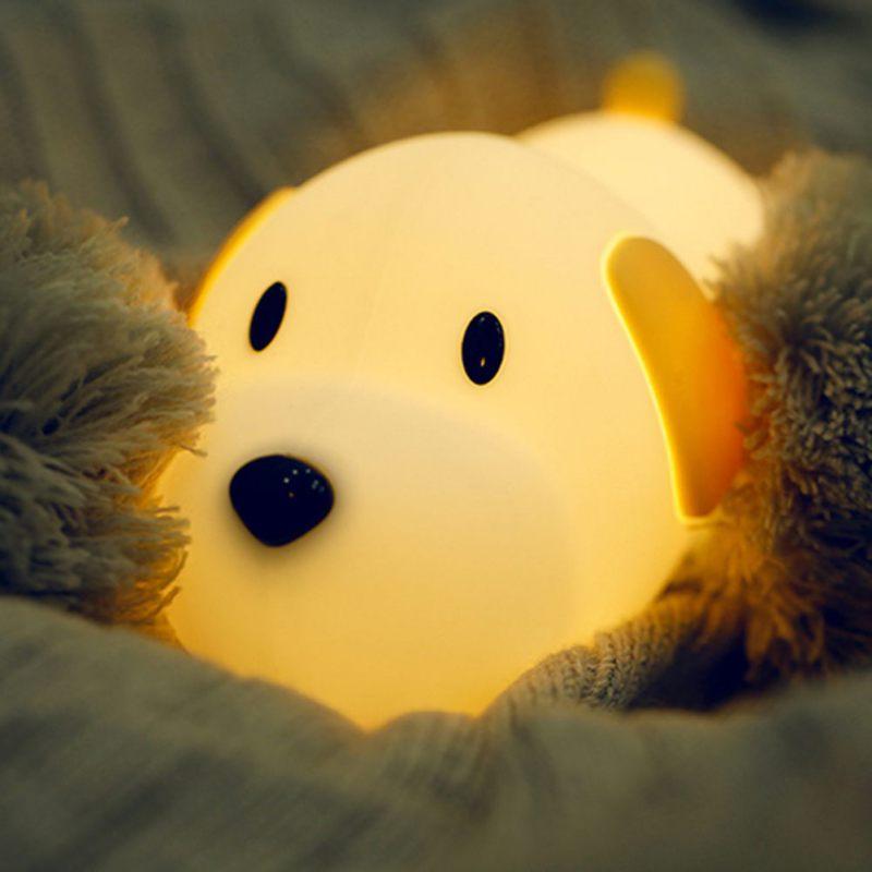 Silicona noche luz lindo cachorro LED USB recargable noche función de temporizador noche lámpara para bebés dormitorio guardería