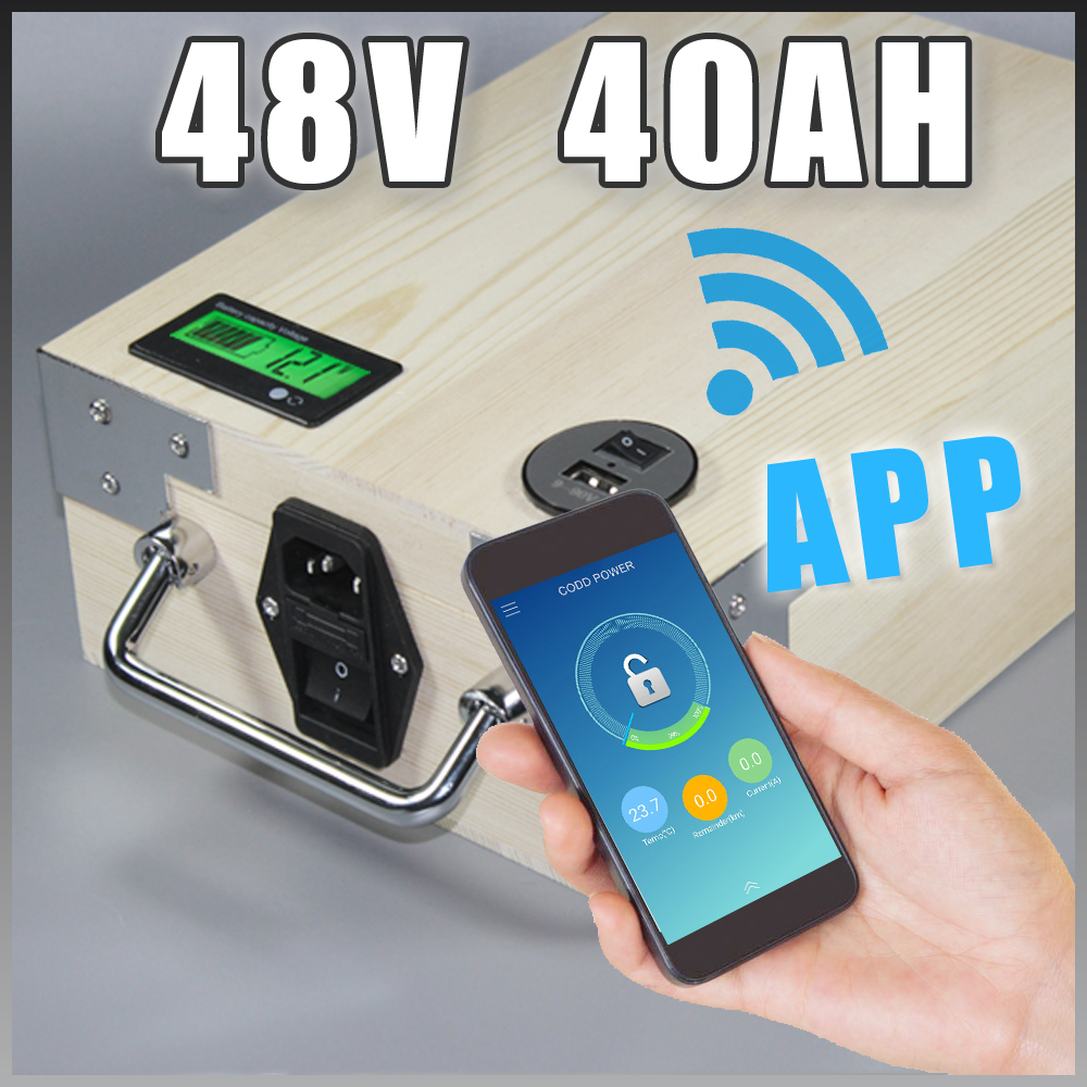app 48V 40Ah Electric Bicycle LiFePO4 Battery + BMS ,Charger Bluetooth GPS control 5V USB Port Pack scooter electric bike 48v 40ah lifepo4 protable battery 2000w electric bicycle battery bms charger 48v lithium scooter electric bike battery pack