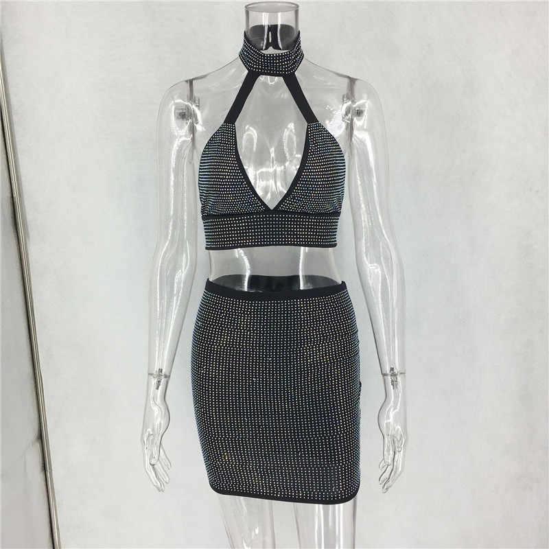 bcebaa88a37e ... women crystal bodycon dress sparkle rhinestones sleeveless two piece  set dress cut out sexy night club ...