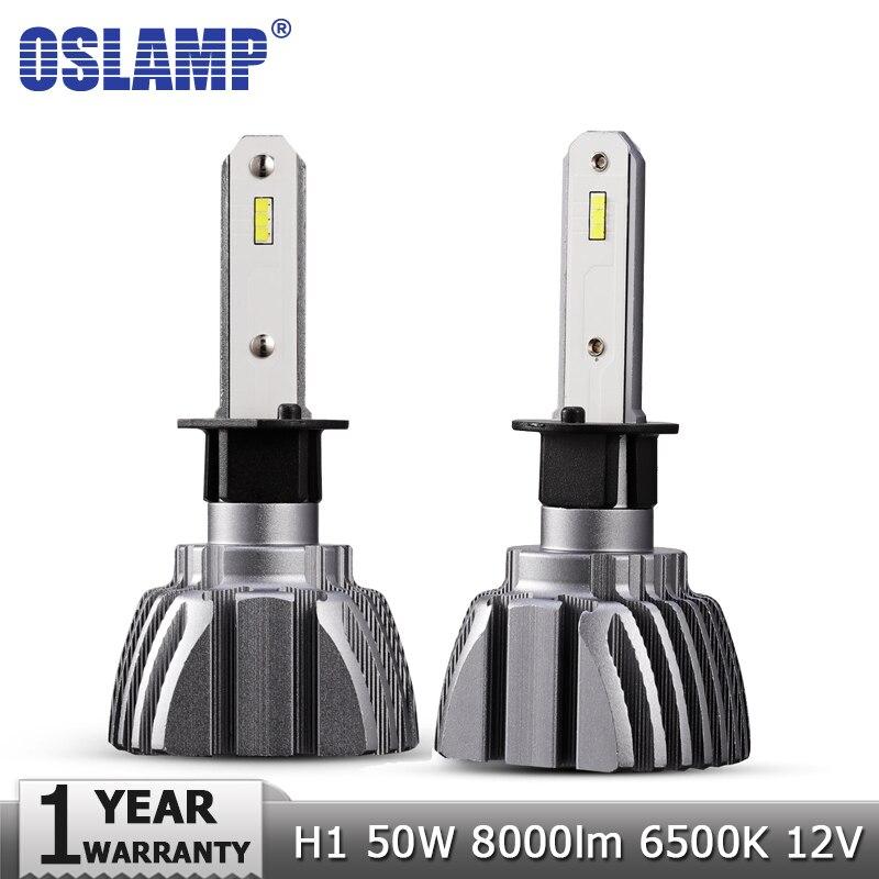 Oslamp Car LED Headlight Bulbs CSP H1 50W 6500K 8000lm Led Light Bulb Auto Headlamp 12v 24v for Nissan Chery Toyota Infiniti VW h1 50w 500lm 10 led white car foglight headlight dc 12 24v