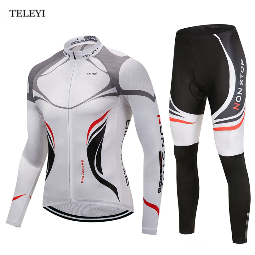 цены TELEYI Team Pro Sportswear Men's Long Sleeve Cycling Jersey Set Sports Bike Wear Ropa Ciclismo Cycling Clothing Pants Sets White