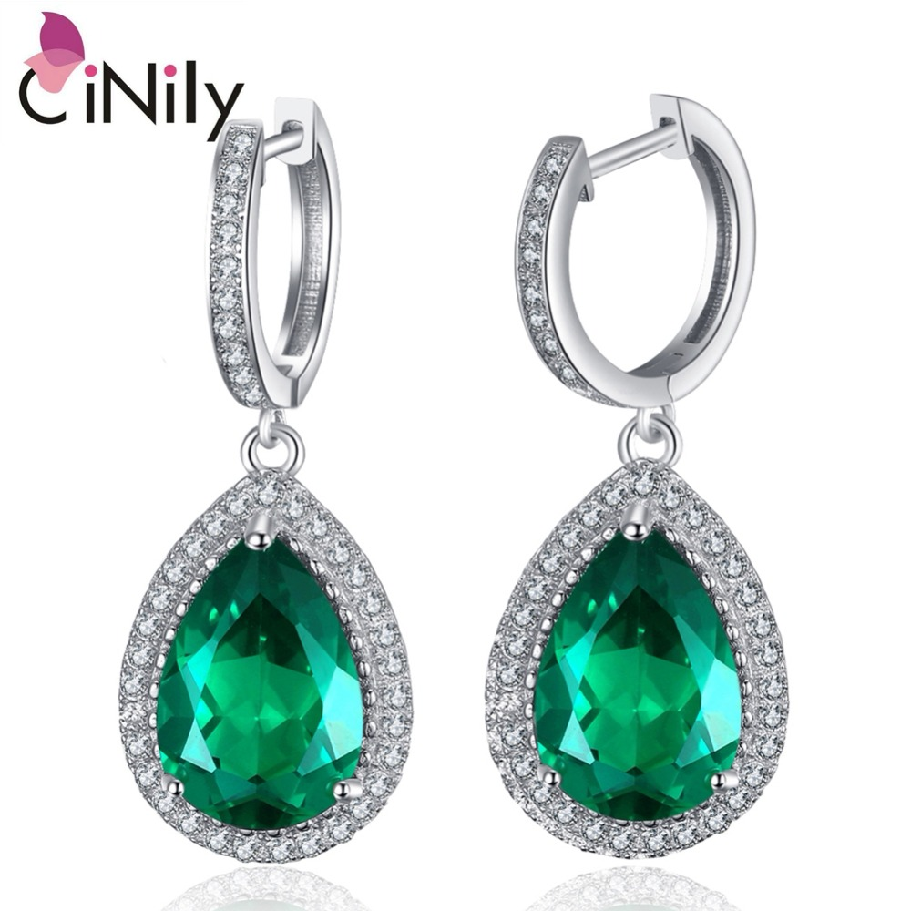 CiNily Authentic. Solid 925 Sterling Silver Created Green Emerald New Fine Jewelry for Women Wedding Drop Earrings SE035