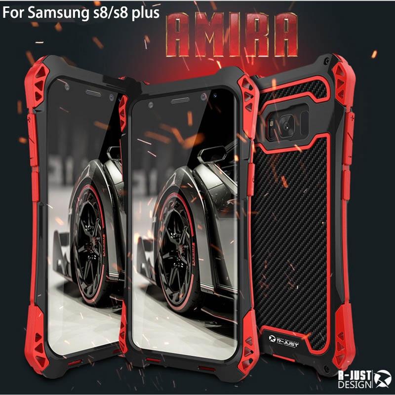 Цена за Новый R-Просто Чехол Для Galaxy S8 Водонепроницаемый Чехол Для Samsung Galaxy Plus S8 S8 + Алюминий Водонепроницаемый Противоударный углеродного волокна Случае