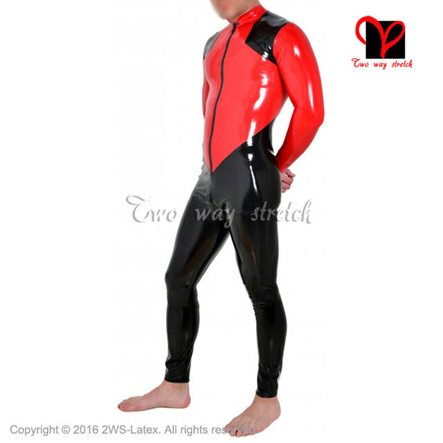 0760b2b6b0 placeholder BLack and Red Shoulder trims Sexy Latex Catsuit front to crotch  Zipper Rubber bodysuit Jumpsuit overall