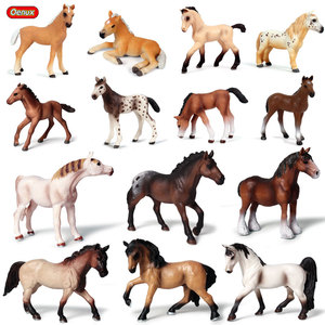 Image 1 - Oenux Original Genuine Farm Animals Horse Model Action Figures Wild Steed Figurines PVC High Quality Education Toy For Kids Gift