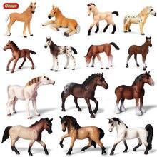 Oenux orijinal orijinal çiftlik hayvanları at modeli aksiyon figürleri vahşi Steed figürleri PVC yüksek kaliteli eğitim oyuncak çocuklar için hediye