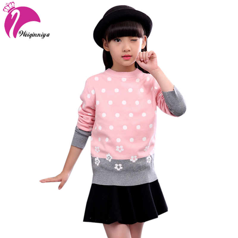2017 Baby Girl Sweaters Cardigan Casual Kid Solid Dot Style Children s Sweater Winter Kids Girls