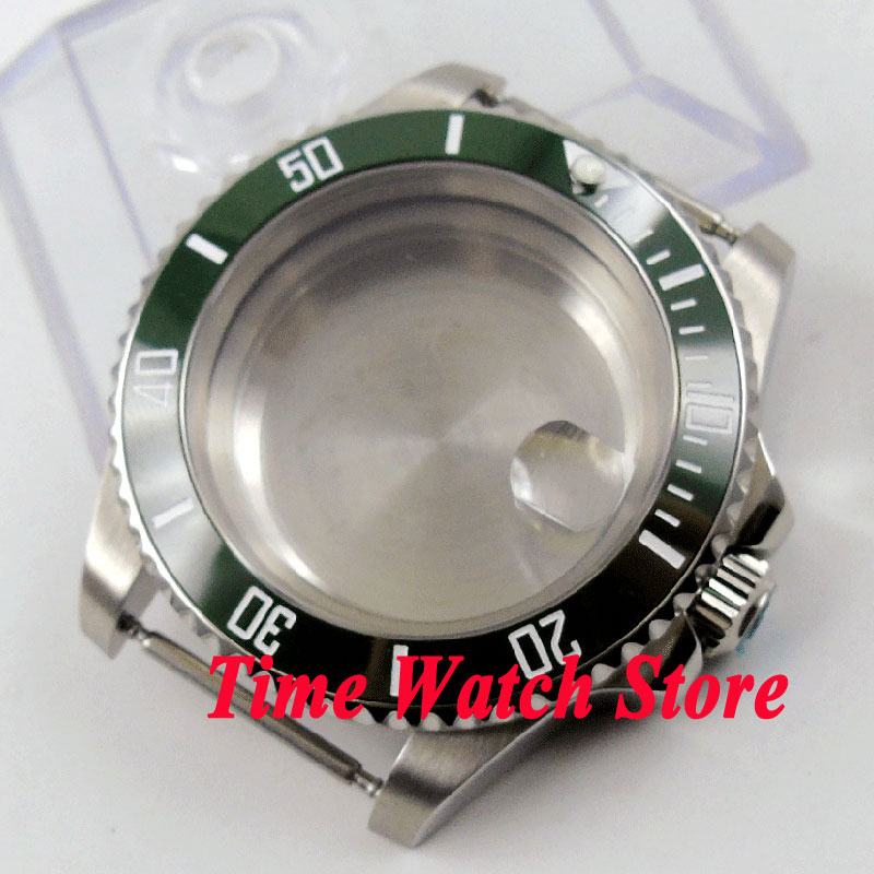 40mm Sapphire glass green ceramic bezel stainless steel Watch Case fit ETA 2824 2836 movement C99 цена и фото