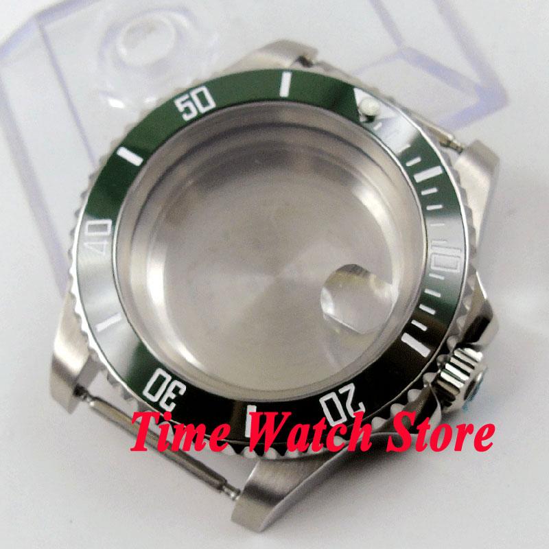 40mm Sapphire glass green ceramic bezel stainless steel Watch Case fit Miyota 8215 821A ETA 2836 movement C9940mm Sapphire glass green ceramic bezel stainless steel Watch Case fit Miyota 8215 821A ETA 2836 movement C99