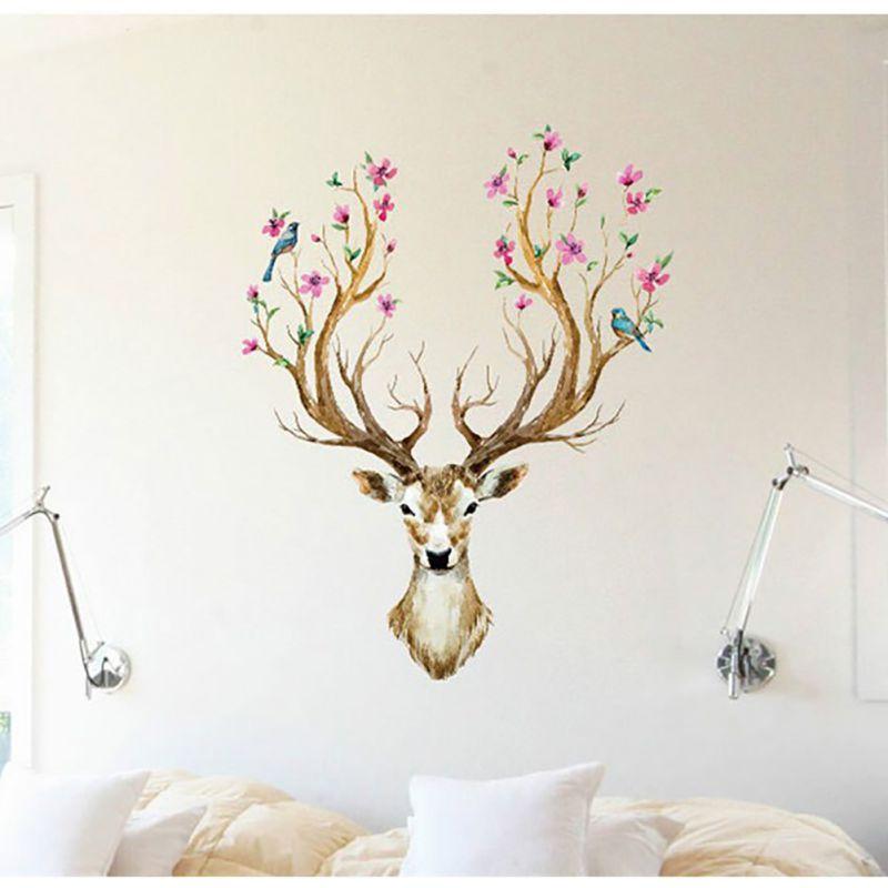 b58ba853fe Promoção Cervos Adesivos de Parede Animal Dos Desenhos Animados de Parede  DO PVC Papel De Parede Sala de estar Decoração de Casa