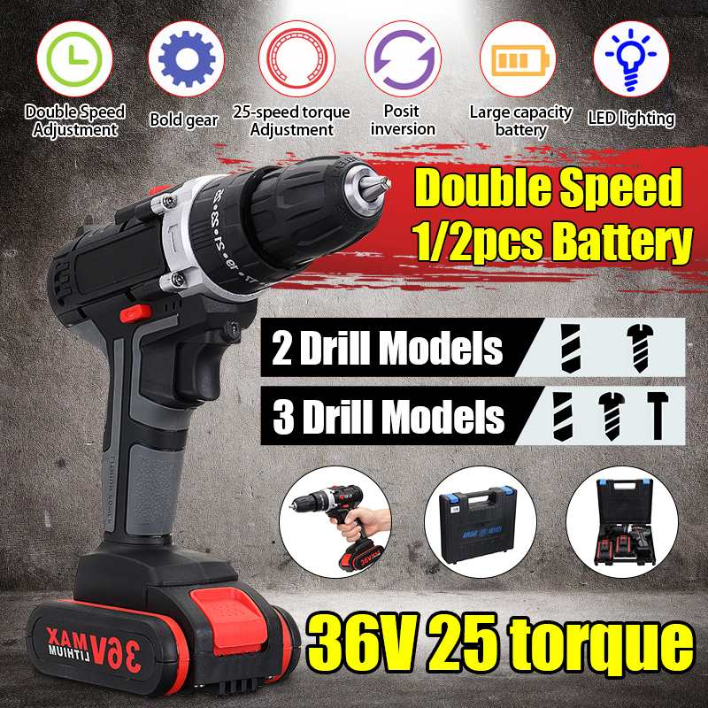 36V Cordless Drill Hammer Impact Set 2-Speed LED Worklight 2PCS  Li-ion Battery