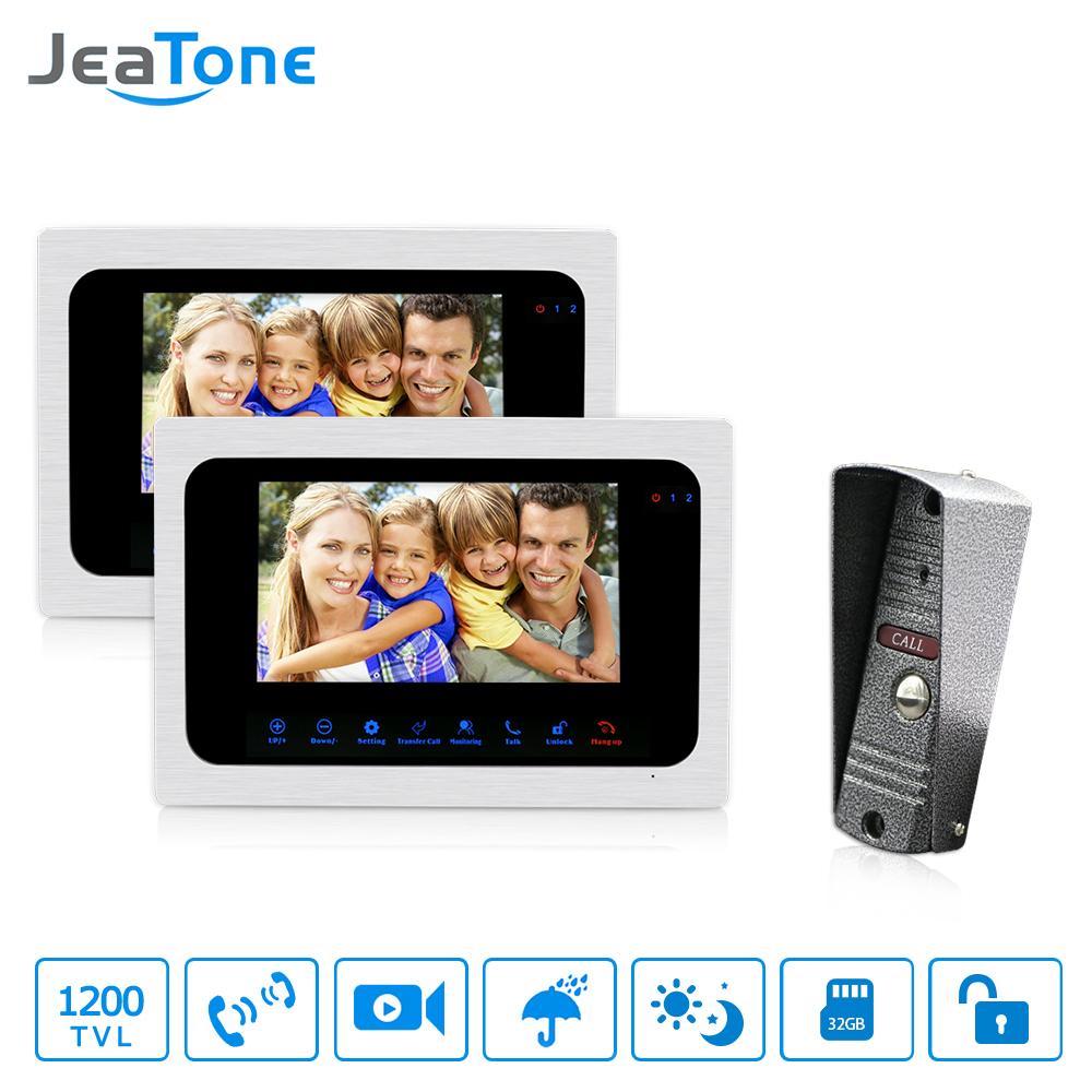JeaTone 7 LCD Monitor Wired Video Intercom Doorbell 1 Camera 2 Monitors Video Door Phone Bell Kit for Home Security System jeatone 4 inch tft wired video door phone intercom doorbell home security camera system picture memory
