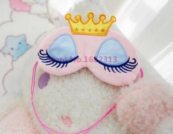Lovely Pink/Blue Crown Eyeshade Eye Cover Sleeping Mask Travel Cartoon Long Eyelashes Blindfold Cute Eyes Cover Crown Style