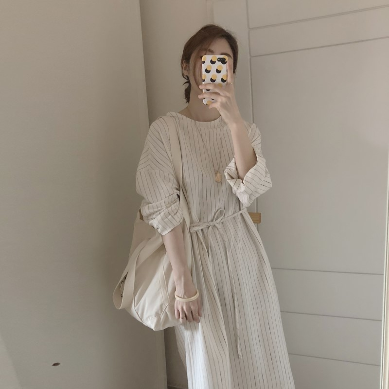 Korean Women Summer Cotton Linen Striped Long Dress With Belt Female Pullover Long Sleeve Plus Size Vestidos Robe Femme Jurken