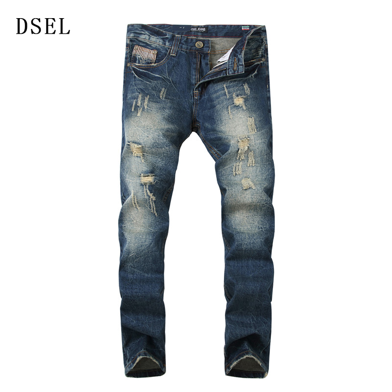 Classic Men s Jeans Men s Cultivate One s Morality Leisure Elastic Jeans Blue 100 Cotton