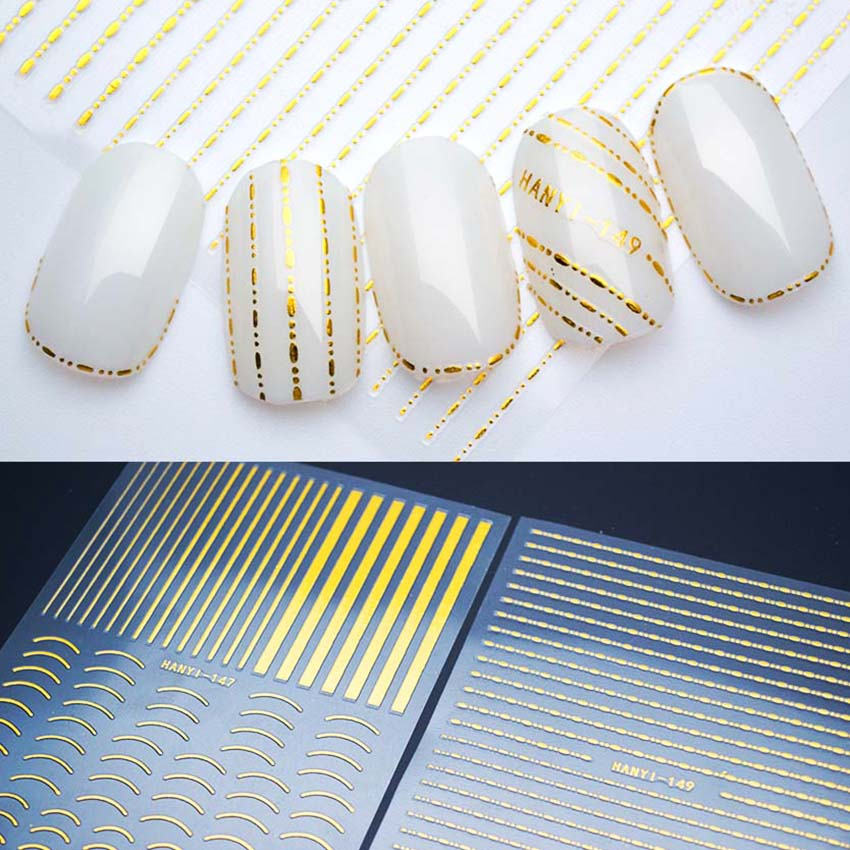 Gold Striping Tape Nail Art: 1Pcs Gold Nails Stickers Curve Stripe Lines 3D Nail Art