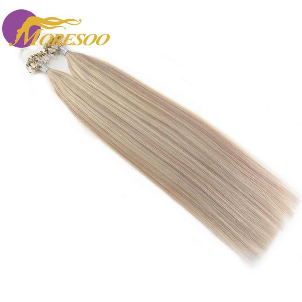 Moresoo Micro Loop Remy человеческие волосы для наращивания микро-кольцо бусины для волос для наращивания цвет насыщенный Омбре и Выделите цвет волос 1 г/1 S 50 г