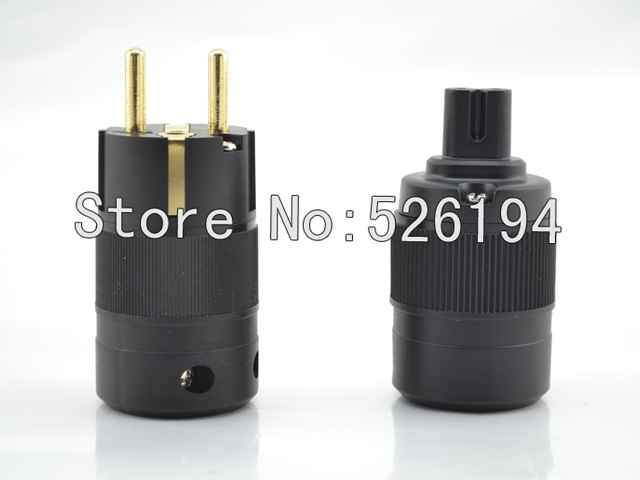 Free shipping Figure 8 Gold Plated EU Schuko power plug for audio power cable