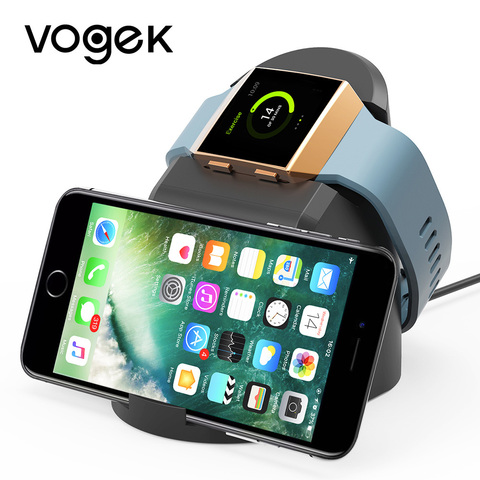 VOGEK Wireless Magnet Charger for Fitbit Lonic, USB Power Charging Dock Charger Station Cradle for Fitbit Watch & Phone Stand Pakistan