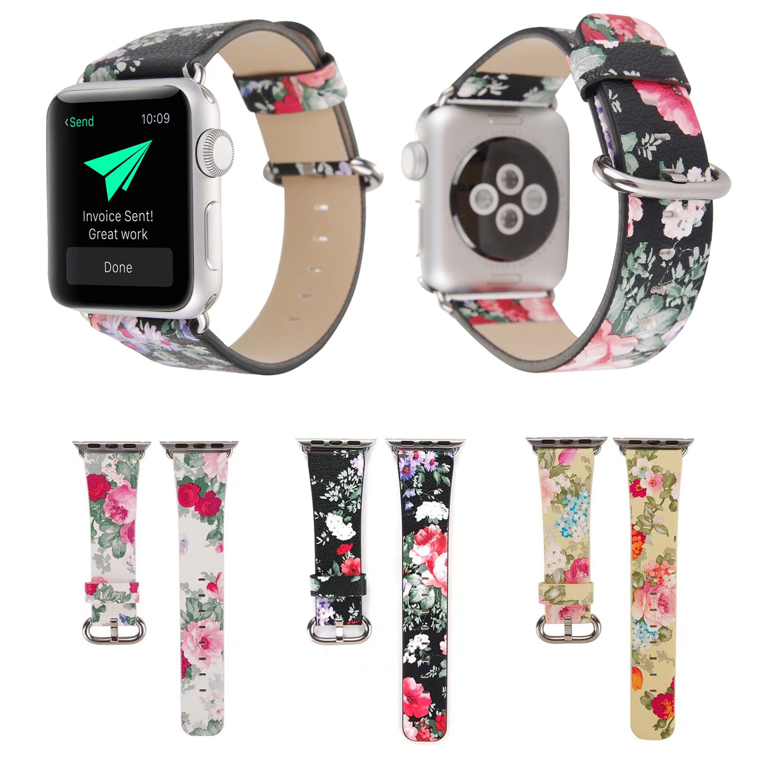 Traditional Flower Leather Strap for Apple Watch Series 3 2 1 Band 42mm 38mm Bracelet for iWatch Replacement Watchband смарт часы apple watch series 2 38mm