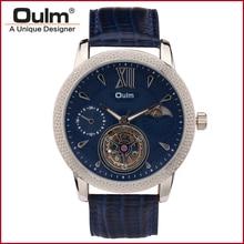 Oulm 3 М Водонепроницаемый Мужчины Механические Часы Кожаный Ремешок 3682