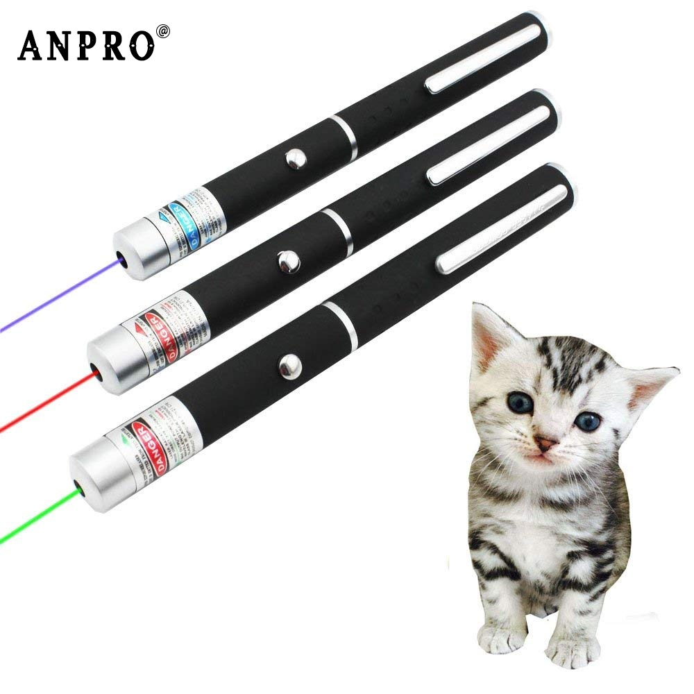 Anpro LED Laser Pet Cat Toy Red Dot Laser Pointer Light Toy Laser Sight 530Nm 405Nm 650Nm Pointer Laser Pen Interactive Toy