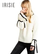 IRISIE Одежда Белый Сладкий Элегантное Цвет Блока Женские Пуловеры Свитера Случайные Свободные Галстук Рукав Женщин Пуловеры Свитер Моды