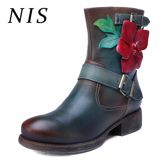 69c183448 NIS Vintage Handmade Flower Autumn Ankle Boots For Women Shoes Genuine  Leather Zipper Knight Motorcycle Winter Boots Women Botas