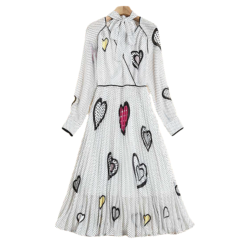 XF 2018 Fashion Designer Spring And Summer Women'S V-Neck Bow Long-Sleeved Dot + Heart-Shaped Printed Pleated Chiffon Slim Dress