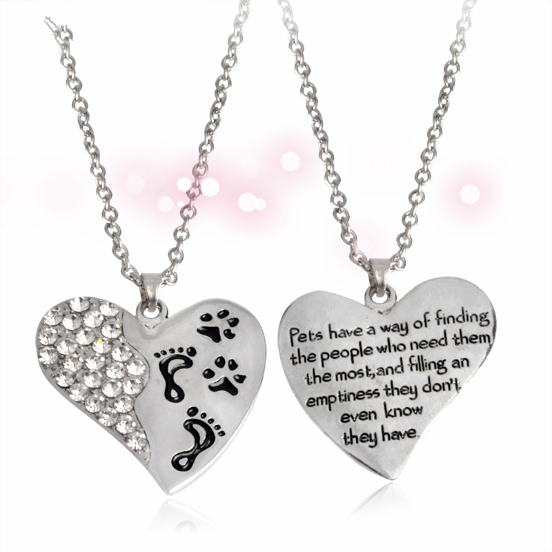 Finding The People Who Need Them Heart With Paw Foot Pendant Necklace Pet Loss Memorial Paw Pet Lover Jewelry